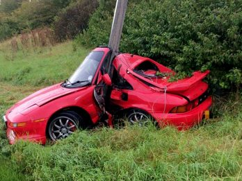 Driver Lucky To Be Alive After Wrapping Car Around Lampost