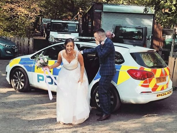 Wedding Couple Rescued By Police When Their Car Broke Down