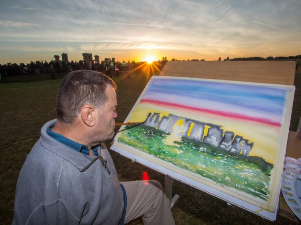 Mouth And Foot Artist Captures Sunrise In Colourful Painting At Stonehenge's Summer Solstice
