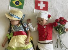 Mum Dressed Two-Year-Old Twins In Homemade Outfits To Represent Opposing Teams – In EVERY World Cup Game