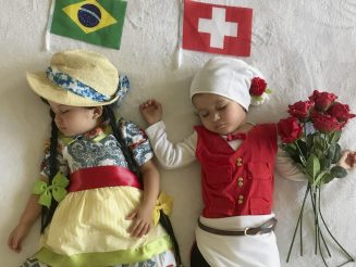 Mum Dressed Two-Year-Old Twins In Homemade Outfits To Represent Opposing Teams - In EVERY World Cup Game