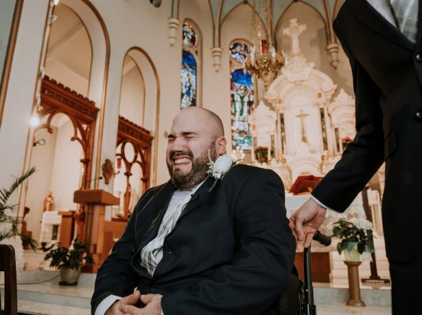 Touching Moment A Wheelchair-Bound Groom Is Overcome With Emotion As His Bride Walks Down The Aisle