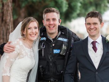 Newlyweds Posing For Photoshoot Were Stunned When Their Portraits Were Interrupted By A Police Chase