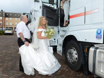 Bride Party Gets Lift To Wedding - In Three HAULAGE LORRIES!